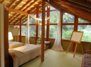 Vue intérieur d'une maison en bois