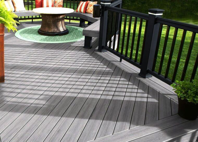Gris revetement sol exterieur terrasse decking gris bois for Revetement exterieur terrasse