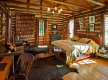 intérieur d'une maison en bois